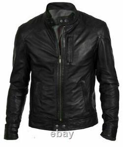 Mens Real Leather Harley-davidson Jacket Biker Jacket Vintage Cafe Racer Style