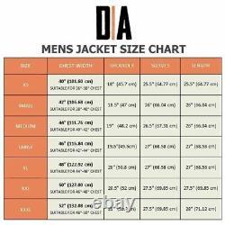 Mens Real Leather Jacket Retro Black Slim Fit Biker Jacket