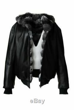 Mens Reversible Hooded Chinchilla Leather Bomber Jacket