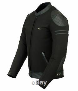 Mens SOFTSHELL Waterproof Wind Stopper Leather Biker Motorcycle Motorbike Jacket