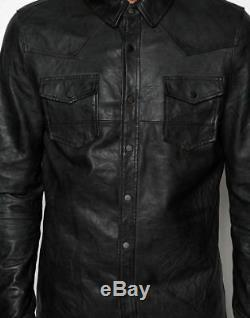 Mens Shirt Jacket Black Real Soft Genuine Lambskin Washed Waxed Leather Shirt
