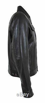 Mens Soft Leather Trucker Jacket Black American Western Coat