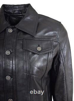 Mens Soft Leather Trucker Jacket Black American Western Denim Levi Style Coat