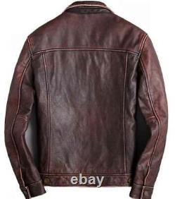 Mens Trucker Brown Real Genuine Leather Biker Cafe Racer vintage Jacket