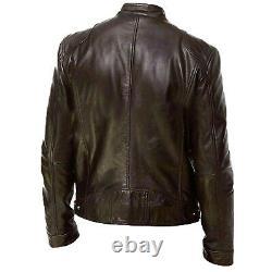 Mens Vintage Cafe Racer Genuine Leather Brown Black Slim Fit Real Biker Jacket