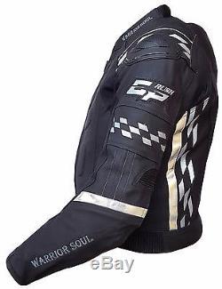 Mens Warrior All Black Gp Flag Motorbike Motorcycle Biker Jacket Ce Armour