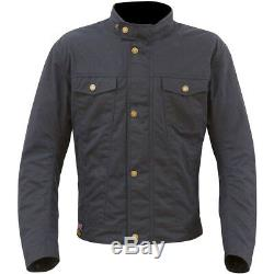 Merlin Anson Wax Cotton Navy Blue Waterproof Textile Motorcycle Jacket New