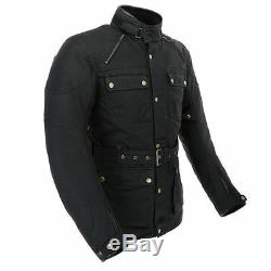 Merlin Rowan Wax Cotton Waterproof Black Motorcycle Jacket New