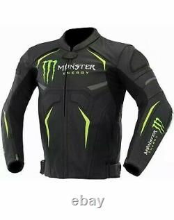 Monster Energy Motorcycle Black Cowhide Leather Racer Jacket