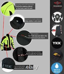 Motorbike Jacket Hi Vis Black Waterproof Motorcycle Thermal Biker CE Armoured