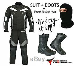 Motorbike Waterproof Suit and Boots Motorcycle Cordura Armoured Leather Shoes