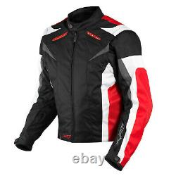 Motorcycle Jacket CE Armored Textile Motorbike Racing Thermal Liner Red