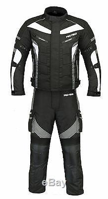 Motorcycle Motorbike Waterproof Suit Jacket Trousers Cordura Textile Armour Grey