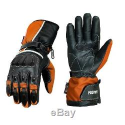 Motorcycle Waterproof Textile CE Armored Jacket With Motorbike 100%Leather Glove