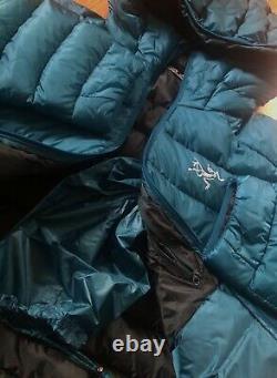 NEW! ARCTERYX Men Cerium LT Hoody Jacket850 Goose Down Fill(M)ILIAD Blue $379
