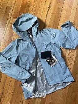 NEW! ARCTERYX Women Zeta SL JacketXLGoreTexHooded RaincoatZephyr Blue Gray