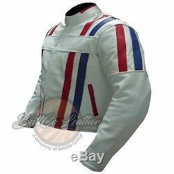 NEW CUSTOM 7288 Motorbike Motorcycle Biker Racing Real WHITE Leather Jacket Coat