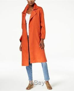 NEW EILEEN FISHER Rust Orange Organic Linen Long Duster Trench Coat Jacket LARGE