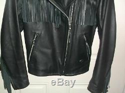 NEW Harley Davidson Women's Black Leather Jacket Fringed Motorcycle Size M