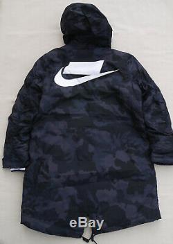 NIKE SPORTSWEAR NSW Primaloft Parka Jacket Black Grey Obsidian Camo Warm Mens M