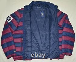 New 2XLT POLO RALPH LAUREN Mens down jacket coat 2XL TALL puffer burgundy blue