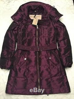 New $995.00 Burberry Quilted Puffer Down Coat Jacket Burgundy NWT Size S