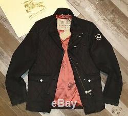 New BURBERRY Men's Sandringham Cashmere Black Diamond Quilted Jacket Coat