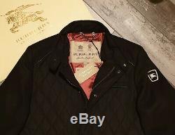 New BURBERRY Men's Sandringham Cashmere Diamond Black Quilted Jacket Coat XL