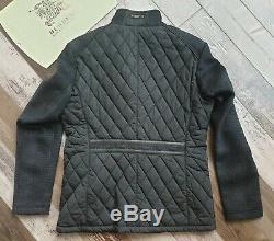 New BURBERRY Men's Sandringham Wool Cashmere Black Diamond Quilted Jacket Coat L