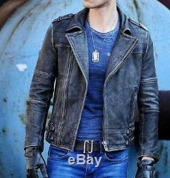 New Cafe Racer Motorcycle Vintage Biker Black Distressed Leather Jacket For Mens