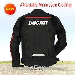 New Ducati Men's Leather Jacket Black New Motorcycle Riding Leather Jacket
