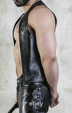 New Genuine Leather Sale CUTAWAY WAISTCOAT Open Front for fetish Gay