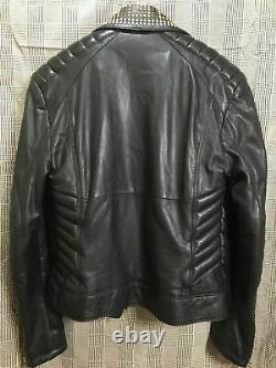 New Genuine Men Leather Gold & Sliver Studded Jacket Black With Slashed Pockets