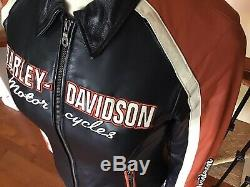 New HARLEY DAVIDSON Womens MEDIUM Classic Cruiser Vented Leather Jacket With Liner