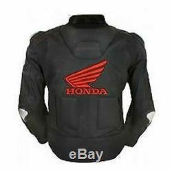 New Honda Black Motorbike Cowhide Leather Motorcycle Leather Armour Jacket