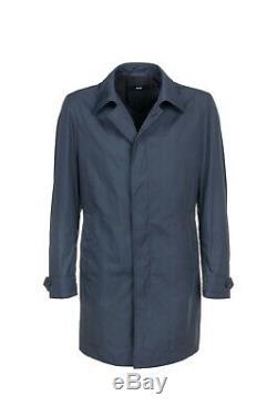 New Hugo Boss Loro Piana mens blue long raincoat trench coat jacket 40R 50 Large