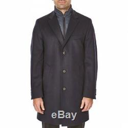 New Hugo Boss mens blue cashmere wool suit long trench coat jacket 46R 56 XXL