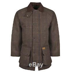 New Mens British Tweed Jacket Quilted Country Outdoor Shooting Wool Farming Coat