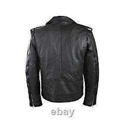 New Mens Motorbike Perfecto Brando 100% Leather Jacket Black Biker Lining Free