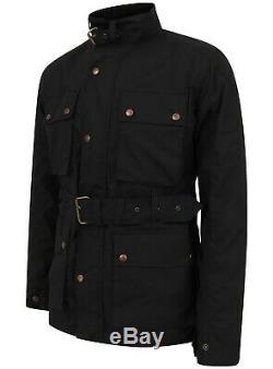 New Mens Motorcycle Wax Cotton Jacket Biker Waxed Belted Coat British UK Made