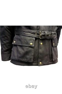 New Motorcycle Motorbike Black Wax Cotton Wp Armour Biker Cotton Wax Jacket