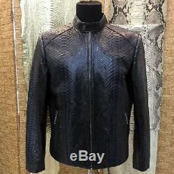New PHILIPP PLEIN Men's Real Python Leather Navy Blue Handmade Jacket