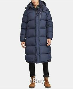 New Polo RALPH LAUREN Ripstop Removable Hood 650 Down Fill Long Coat Jacket Blue