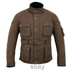 New Warrior Motorcycle Cotton Waxed WP Lined Body Armour Motorbike Bikers Jacket