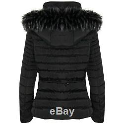New Womens Ladies Quilted Winter Coat Puffer Fashion Fur Hooded Jacket Parka