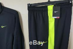 Nike Track Suit Dri-fit Jacket + Therma-fit Pants Black Volt New (large Medium)