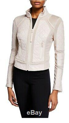 Nwt Womens Blanc Noir Leather Mesh Moto Pink Size S