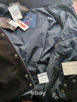 Paul Shark Aviator Jacket Virgin Wool Bomber Dark Blue Genuine, Size XL New