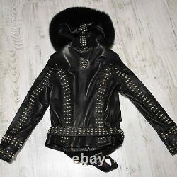 Philipp Plein Real Fox Fur Trim Women's Black Genuine Leather Jacket