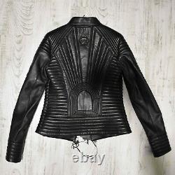 Philipp Plein Women's Genuine Leather Black Quilted Lambskin Jacket